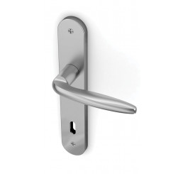 POIGNEE DE PORTE SUR PLAQUE KOBE FINITION CHROME SATINE ENTECH