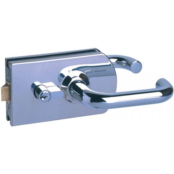 france quincaillerie serrure de porte verre avec bequille ronde metalux. Black Bedroom Furniture Sets. Home Design Ideas