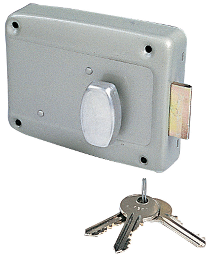 France quincaillerie serrure de porte de garage en applique a cylindre rond et bouton interieur - Cylindre de porte ...